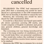 CSS Screening Test Cancelled