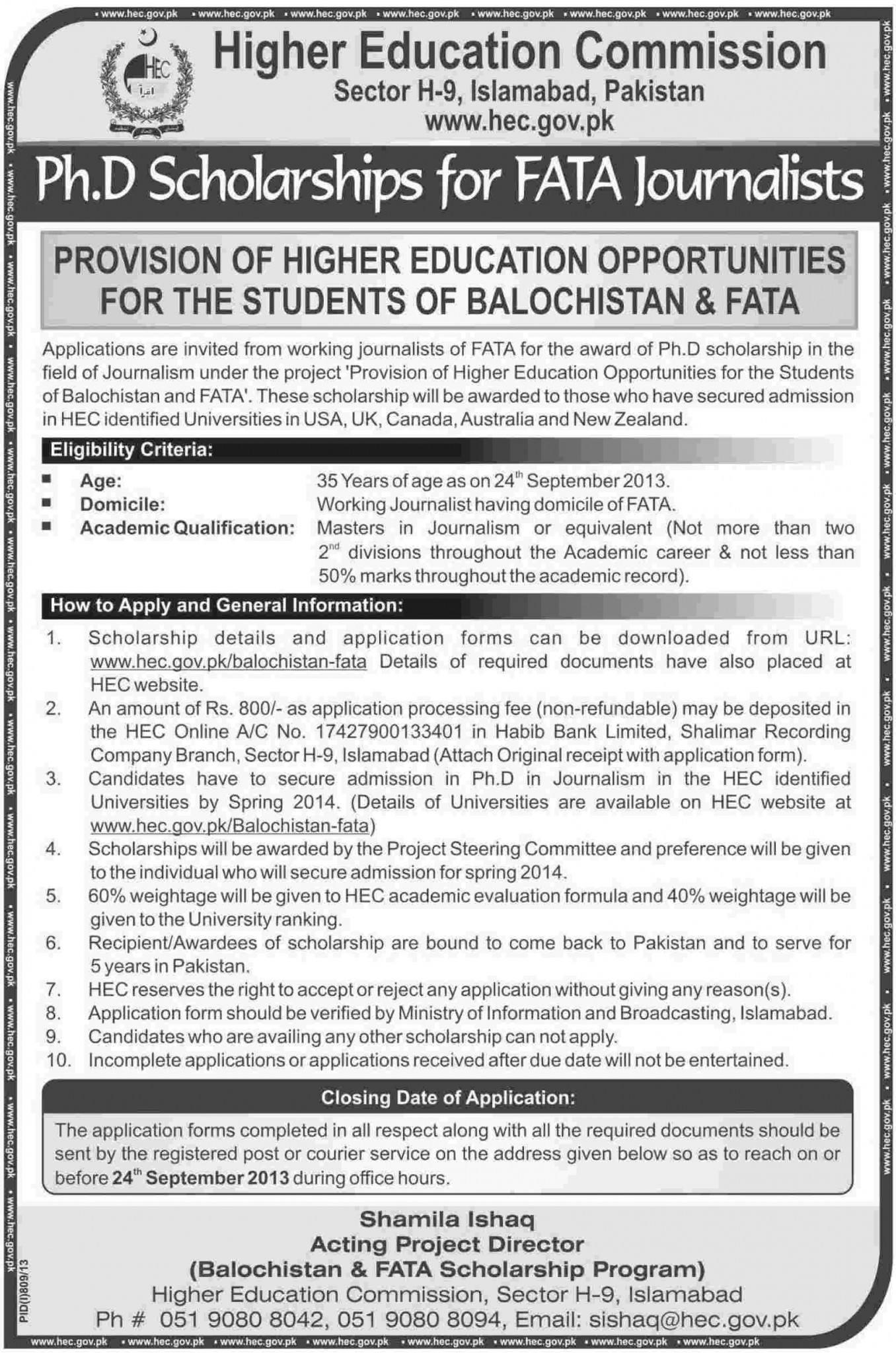 Scholarships for Journalist from FATA