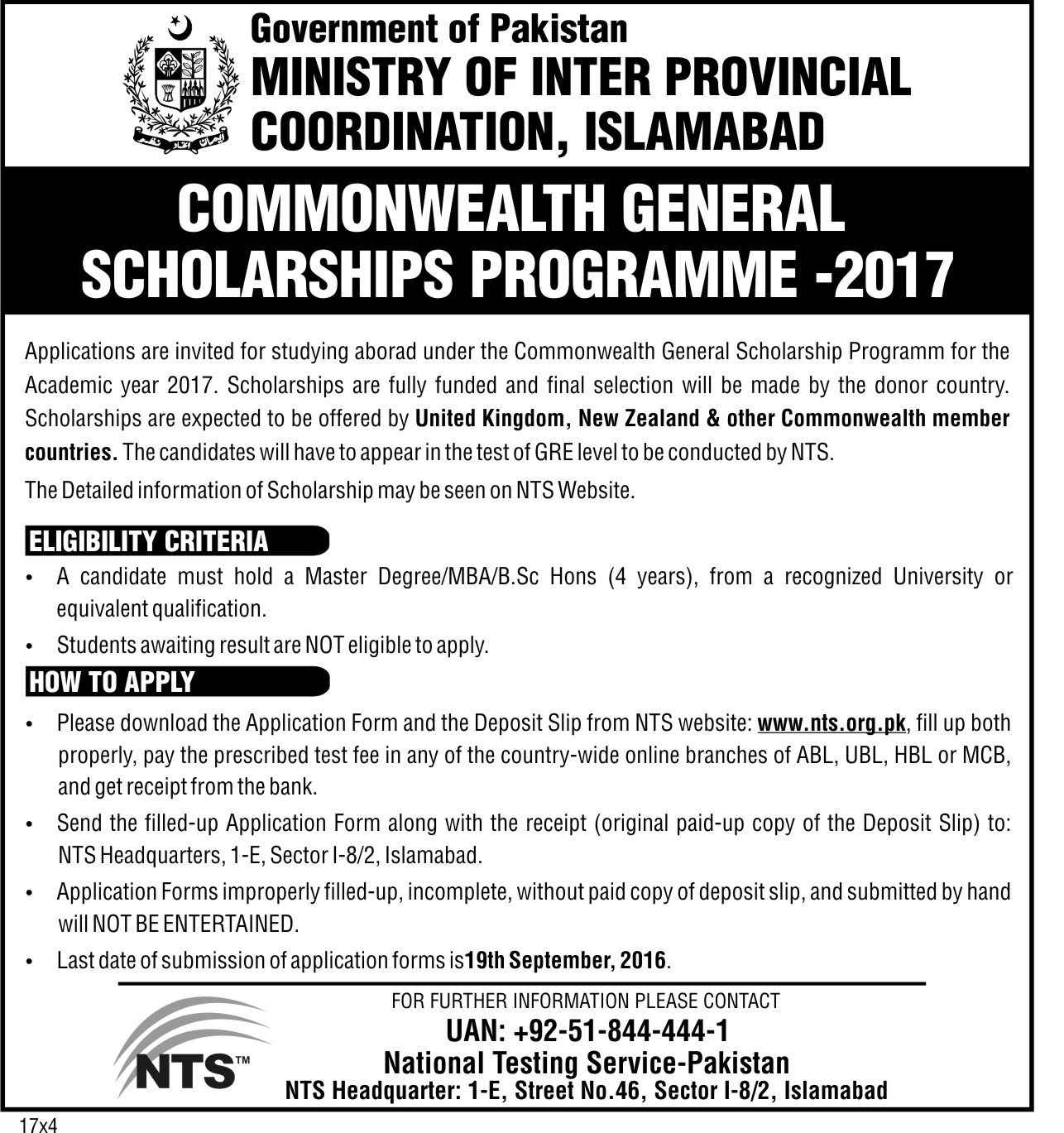 Commonwealth Scholarships from UK and New Zealand for Pakistani Students